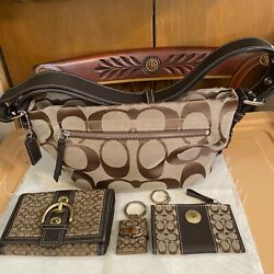 4 Pc Brown Sinnature Crossbody Coach Bag Wallet Credid card amp; Picture Case $99.99