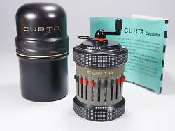 Curta Calculator Type 2rare Transitional Modelall Metal1959w/can Top Working