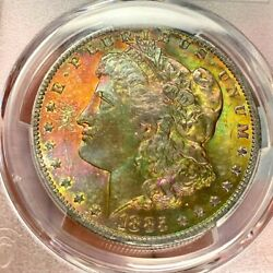 1885-o Rainbow Monster Toned Cac-certified Morgan Dollar Pcgs Ms66+ S1