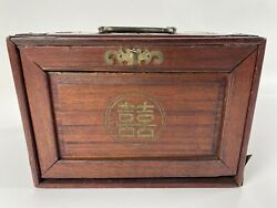 Chinese Antique Mah Jong Game Set 春夏秋冬 Tiles With A Rosewood Chest
