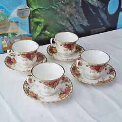 Royal Albert Old Country Roses 4 Tea Cups And 4 Saucers