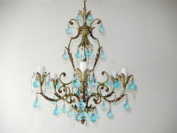 C 1920 Green French Rare Aqua Blue Murano Balls And Crystal Prisms Chandelier