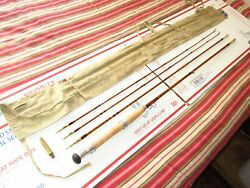 Vintage English 9and039 Ft Split Bamboo Cane Fly Rod Restored Sharpes Trade Rod