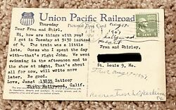 Pc-union Pacific Railroad Post Card With Rare George Washington 1 Cent Stamp