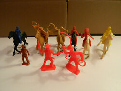 Vintage 15 Pcs Lot 1960s - 1970s Marx And Tim Mee Cowboys And Indians, Horses