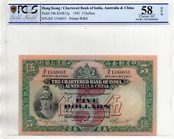 The Chartered Bank Of India Aust. And China Five Dollars 1941 In Pcgs 58 Opq