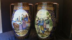 A Very Special Pair Of Tall French Grand Quimper Vases Brode Or Decor