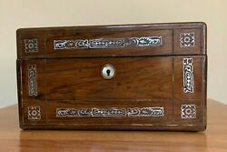 Antique Victorian 1800s Lap Desk/writing Box With Mother Of Pearl + Metal Inlay