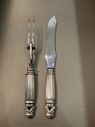 George Jensen Acorn Sterling Silver Carving Set Rare 1900and039s Fork With Stand