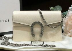 Auth Dionysus Super Mini Bag White Leather And Tiger Head With Crystal