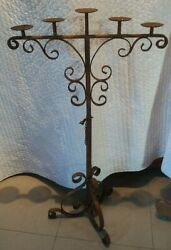 Gothic Floor Candelabra Medieval Castle Candle Holder Distressed Wrought Iron