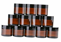 2 Oz Round Glass Jars 12 Pack - Empty Cosmetic 12 Count Pack Of 1 Amber