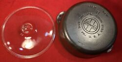 Griswold Cast Iron Size 8 Dutch Oven 1295 With Glass Cover Sits Flat