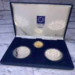2004 Athens Olympics 100 Euro 10 Grams Gold Proof And Silver Coin Collection Set