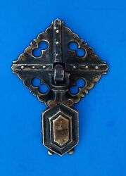 Circa 1900 Arts And Crafts Mission Antique Hardware Brass Drop Ring Drawer Pull