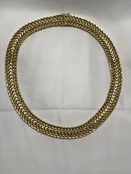 Vintage 14k Italy Brev Unoaerre Yellow Gold Woven 17 Chain Necklace 40 Grams