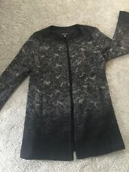 Eileen Fisher Black Gray Felted Wool Sprinkle Jacket Sz L Mid Length Ombre