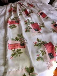 Vtg 50and039s Mcm Atomic Era Red Holly Leaf Graphic Print 2-pleated Curtains Drapes