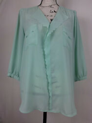 Elle Women's Blouse Size Xl Green Long Sleeve Collared Relaxed Fit Casual