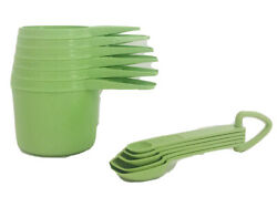 Tupperware Apple Green Set Measuring Cups And Measuring Spoons Vintage Kitchen