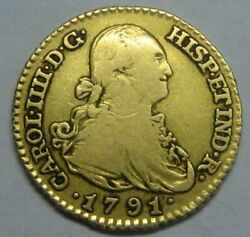 1791 Madrid 1 Escudo Charles Iv Spain Gold Doubloon Spanish Colonial Era