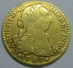 1787 Madrid 1 Escudo Charles Iii Gold Spain Doubloon Spanish Colonial Era