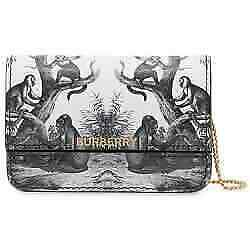 Black Monkey Print Leather Card Case With Chain Strap 8028150