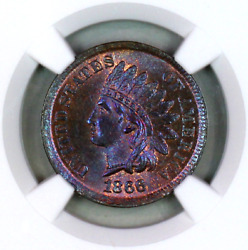 1866 Ms65 Rb Ngc Indian Head Penny Premium Quality Superb Eye-appeal