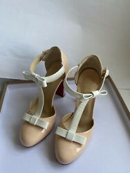Christian Louboutin Mary Jane Nude And White Size 37