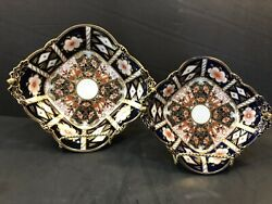 Pair Royal Crown Derby Traditional Imari Square Footed Reticulated Bowls Acorns
