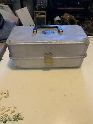 Vintage Umco Aluminum-103a-3 Tray Tackle Box W/ Gold Accents-13x6x6