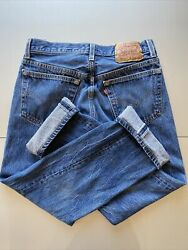 Vintage 90s 501 Xx Button Fly Denim Jeans Made In Usa 33x30 Shrink To Fit
