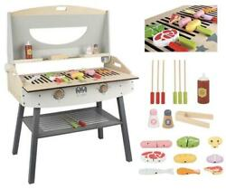 Wooden Bbq Set Pretend Play Cooking Meat Utensils Barbecue Grill Cooker Kids 044