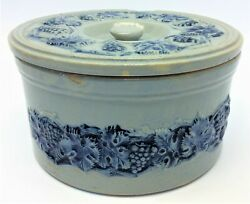 Antique Old Stoneware Glazed Blue Leaf Pattern Cookie Jar Bakery Container
