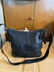 Rare Black Leather Vintage Crossbody Coach Hobo Bag amp; Tag Laced Side Grommets $84.99