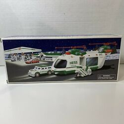 2001 Hess Toy Truck Helicopter With Motorcycle And Cruiser Nib