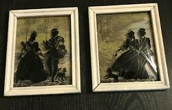 Antique 1930s Art Silhouette Framed Glass Set Of 2 Couple Shopping And Walking Dog