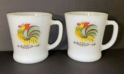 2 Fire King Chanticleer Rooster Mug D Ring Handle Coffee Cup Farmhouse Kitchen