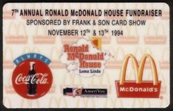 Ronald Mcdonald House Coca-cola Frank And Sons Set Of 4 Coke Cards Phone Card
