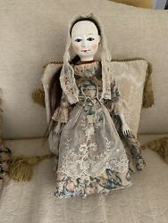 """Queen Anne Wooden Repro Doll By Maria Savchuk Approx 17"""" Tall  Glass Eyes"""