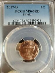 2017 D 1c Lincoln Shield Cent Pcgs Ms66 Rd2938