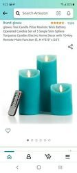 Teal Candle Pillar Realistic Wick Battery Operated Candles Set Of 3 Slim Sphere