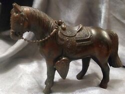 Vintage 1940s Carnival Horse Cast Metal Bronze/copper Tone Patina Marked Usa Vgc