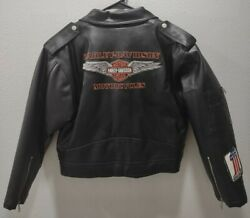 Harley Davidson Classic Black Jacket Angled Zipper W/patches Women's Large 16/18