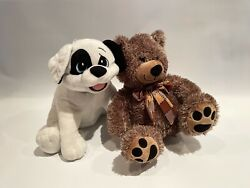 Dave And Busterand039s Toy Factory Dalmatian Plush 14 And Natural Color Bear W/ Scarf