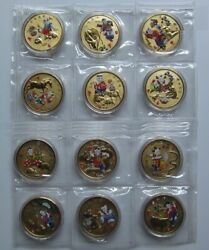 China 12 X 40mm Chinese Lunar Zodiac Gilt Copper Colored Medals Set