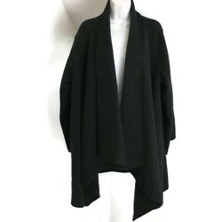 Eileen Fisher Size M Charcoal Gray Black Open Front Soft Wool Duster Coat 1 Size