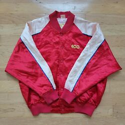 Vintage Coca Cola 100 Year 1986 Anniversary Snap Button Jacket Size S Red '80s