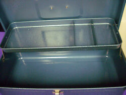 Blue Metal Painted Retired Vintage Tackle Box / Utility / Collect Usa