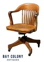 20th C Antique Arts And Crafts Milwaukee Chair Co Oak Swivel Office / Desk Chair